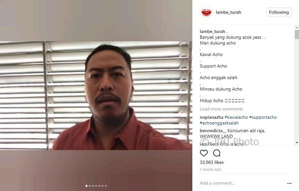 Dukungan Pandji Pragiwaksono untuk Acho (Instagram @lambe_turah)