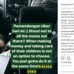 Foto seorang pengendara Uber membawa anak saat bekerja. (Istimewa/Instagram)