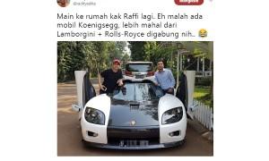 Kicauan Radit tentang mobil mewah Raffi Ahmad (Twitter @radityadika)