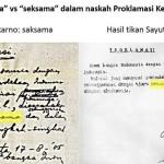 Perbandingan Teks proklamasi hasil tulisan tangan dengan tik. (Istimewa/Repro)
