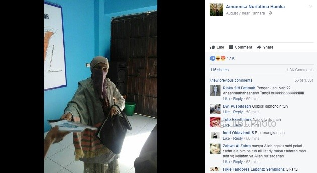 Perempuan dikabarkan bernama Hadasari mengaku sebagai nabi ke-26 (Facebook)