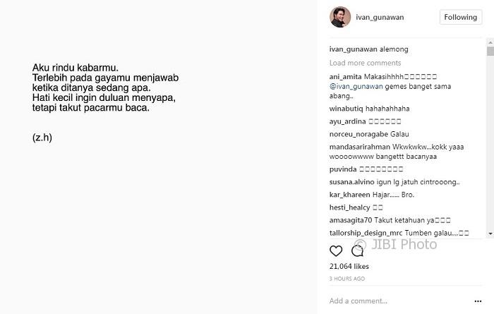 Puisi galau unggahan Ivan Gunawan (Instagram @ivan_gunawan)