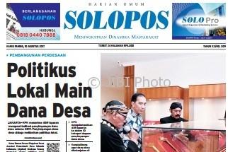 Halaman Depan Harian Umum Solopos edisi Kamis, 10 Agustus 2017.