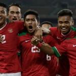 Timnas Indonesia U-22 merayakan gol dalam laga Grup B sepak bola Sea Games 2017 Kuala Lumpur melawan Filipina, Kamis (17/8/2017). (Twitter)
