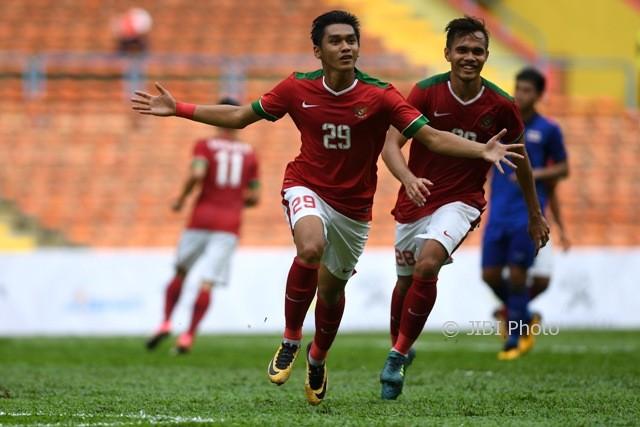 Pemain Timnas Indonesia U-22, Septian David Maulana, merayakan gol. (JIBI/Solopos/Antara)