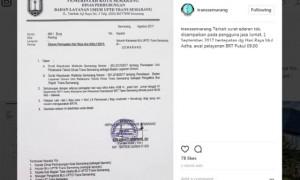 Surat edaran peringatan Iduladha 2017 yang ditujukan kepada seluruh karyawan BLU UPTD Trans Semarang. (Instagram-@transsemarang)
