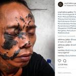 Cheko, pria yang menato wajah dengan peta Indonesia (Instagram @unyi.tattoo.gallery)