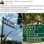 LALU LINTAS SUKOHARJO : Netizen Laporkan Papan Penunjuk Arah di Bekonang Jatuh