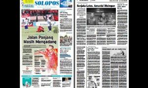 Halaman Depan Harian Umum Solopos edisi Sabtu, 7 Oktober 2017.