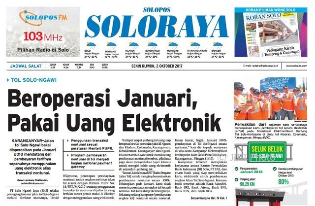 Halaman Soloraya Harian Umum Solopos edisi Senin, 2 Oktober 2017