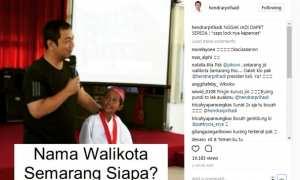 Wali Kota Semarang Hendrar Prihadi (kiri) menanyakan nama wali kota Semarang kepada siswa SD (kanan). (Instagram-@hendrarprihadi)