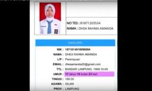 Kartu identitas Dhea Rahma Amanda dalam Pendidikan Dasar Mental Disiplin Praja (Diksarmendispra) IPDN di Akpol Semarang. (Youtube.com)