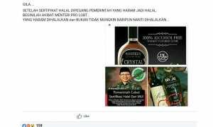 Ujaran kebencian terkait hoaks miras berlogo halal (Facebook)