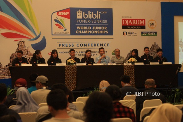 Suasana konferensi pers menjelang digelarnya BWF World Junior Championship 2017 di Royal Ambarukmo Hotel, Jogja, Minggu (8/10/2017). (Jumali/JIBI/Harian Jogja)