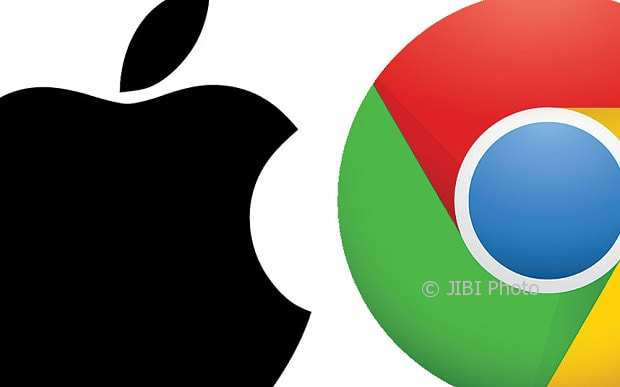 Ilustrasi Apple dan Google. (istimewa)