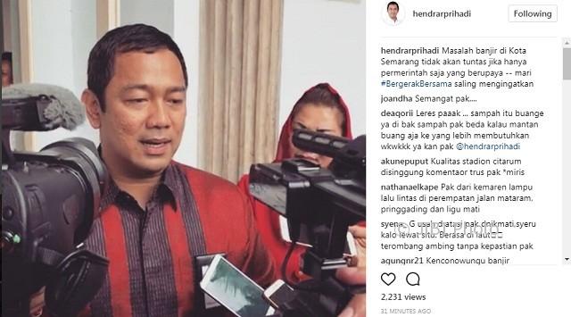 Wali Kota Semarang Hendrar Prihadi memberikan penjelasan terkait banjir di Kota Semarang, Jateng. (Instagram-@hendrarprihadi)
