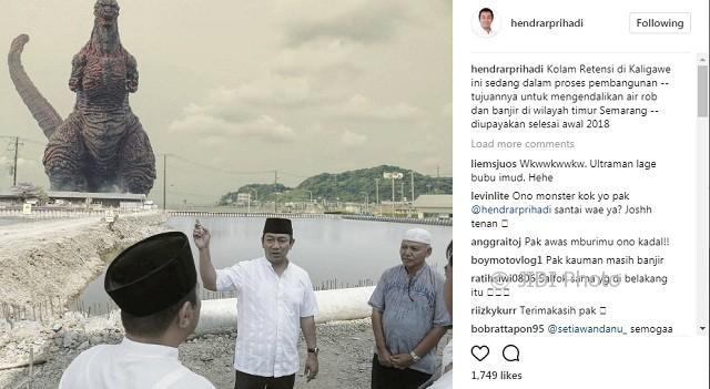 Wali Kota Semarang Hendrar Prihadi mengabarkan perkembangan pembangunan kolam retensi di Kaligawe, Kecamatan Genuk, Kota Semarang, Jateng, Selasa (3/10/2017). (Instagram-@hendrarprihadi)
