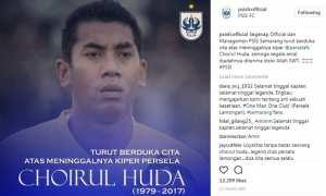 Ungkapan duka cita dari PSIS Semarang atas meninggalnya kiper Persela Lamongan Choirul Huda. (Instagram-@psisfcofficial)