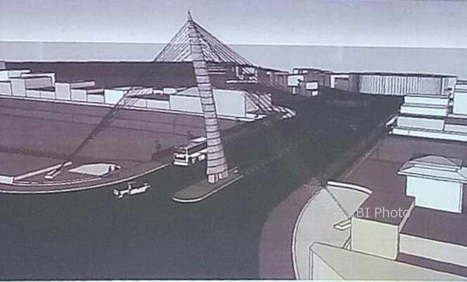 Desain jembatan Tirtonadi baru yang diberi tiang dengan bentuk keris. (Istimewa/Dinas PUPR Solo)