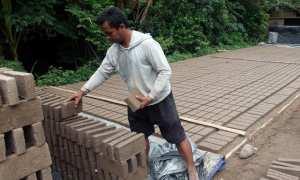 Paimin, 36, sibuk menata batu bata yang mulai kering di halaman depan rumah ibunya di Dukuh Maron RT 014/RW 005, Desa Karanganyar, Sambungmacan, Sragen, Selasa (28/11/2017). (Tri Rahayu/JIBI/Solopos)