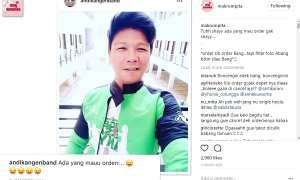 Andika Kangen Band memakai seragam driver ojek online (Instagram @makrumpita)