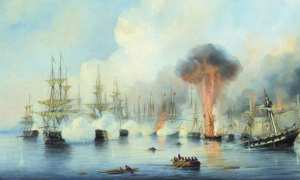 Lukisan karya Alexey Bogolyubov yang menggambarkan Pertempuran Sinop, 1853. (Wikimedia.org)