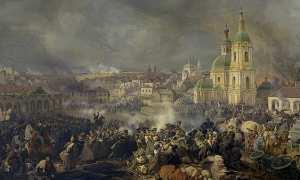 Lukisan karya Piter von Hess yang menggambarkan pertempuran antara pasukan Rusia dan pasukan Prancis di Vyazma, Rusia, 1812. (Wikimedia.org)