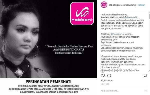 Rabbani menawarkan hijab gratis kepada Rina Nose (Instagram @rabbaniprofesorkerudung)