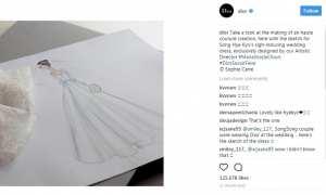 Sketsa gaun pengantin Song Hye Kyo (Instagram @dior)