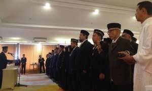 51 Panwascam dari 17 kecamatan di Kabupaten Bantul dilantik dan diambil sumpahnya di KJ Hotel, Jalan Parangtritis, Kecamatan Sewon, Selasa (14/11/2017). (Rheisnayu Cyntara/JIBI/Harian Jogja)