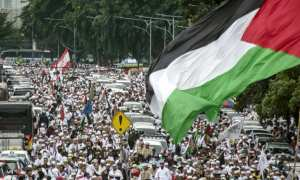 Aksi Bela Palestina di Jakarta, Minggu (17/12/2017). (Aprillio Akbar/JIBI/Antara)