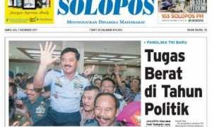 Halaman depan Harian Umum Solopos edisi Kamis, 7 Desember 2017