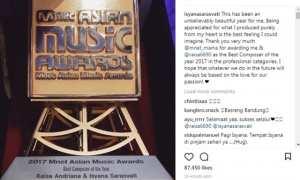 Kebahagiaan Isyana jadi komposer terbaik di MAMA 2017 (Instagram @isyanasarasvati)