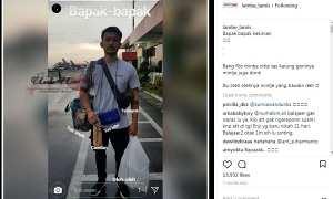 Rio Dewanto menenteng tas anak dan istrinya (Instagram @lambe_lamis)
