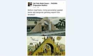 Tugu DPRD Kabupaten Madiun dianggap mirip simbol organisasi Freemason. (Facebook/Paguma)