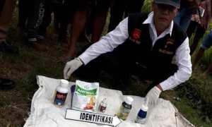 Tim Identifikasi Polres Sragen mengumpulkan obat-obatan pertanian yang digunakan Suyatno untuk menyemprot tanaman padi di persawahan Desa Plosokerep, Karangmalang, Sragen, Senin (8/1/2018). (Istimewa/Agus Irianto/Polsek Karangmalang)