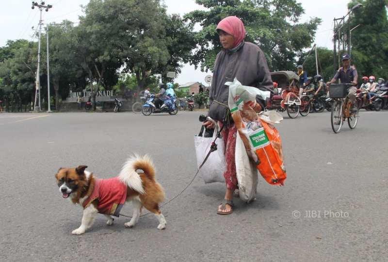 Yuli Aryanti, warga Banjarsari, Solo, yang kerap bertingkah aneh sering berkeliaran dengan anjingnya di Terminal Tirtonadi. (Sunaryo Haryo Bayu/JIBI/Solopos)