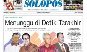 Halaman Depan Harian Umum Solopos edisi Rabu, 3 Januari 2018