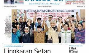Halaman depan Harian Umum Solopos edisi Sabtu, 13 Januari 2018.