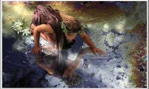 Ilustrasi Nariccus yang jatuh cinta dengan dirinya sendiri (mythlovestories.com)
