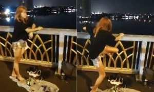 Nittaya nekat terjun dari jembatan saat live Facebook (nationmultimedia)