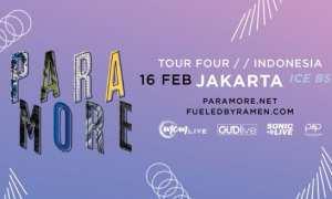Poster konser Paramore di Indonesia 16 Februari 2018 (Tokopedia)