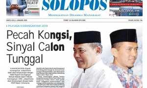 Halaman Depan Harian Umum Solopos edisi Sabtu, 6 Januari 2018.
