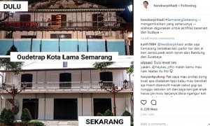 Gedung Oudetrap di kawasan Kota Lama, Kota Semarang, Jawa Tengah (Jateng) sebelum (atas) dan sesudah (bawah) direnovasi. (Instagram-@hendrarprihadi)