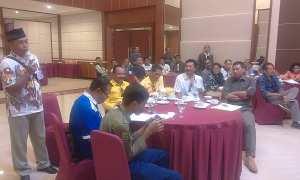 KPU Sukoharjo mengadakan uji publik Penataan Daerah Pemilihan dan Alokasi Kursi DPRD Sukoharjo pada Pemilu 2019 di Hotel Tosan, Solo Baru, Sabtu (10/2/2018). (Trianto Hery Suryono/JIBI/Solopos)