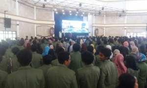 Ribuan mahasiswa UPN mengikuti pembukaan kuliah umum yabg dihadiri Menkomaritim Luhut Binsar Panjaitan, Jumat (9/2/2018) pagi. (Harian Jogja/Sunartono)