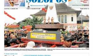 Halaman Depan Harian Umum Solopos edisi Senin, 12 Januari 2018