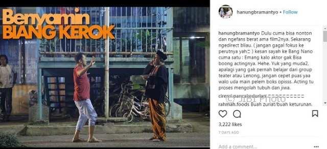 Kekaguman Hanung Bramantyo kepada Rano Karno (Instagram @hanungbramantyo)