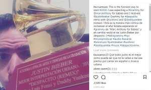 Piala Latin Grammy Awards Justin Bieber yang salah alamat (Instagram @itscruzmusic)