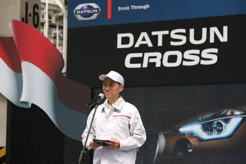 Eiichi Koito, President Director NMI, berikan pidato sambutan dalam momen dimulainya produksi Datsun CROSS di Indonesia di Purwakarta, Rabu (31/1/2018). (IST/Dok NMI)